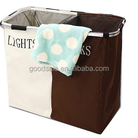 Colorful double sorted folding laundry basket
