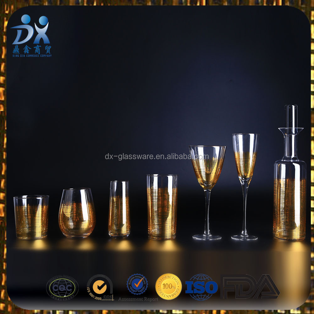 High Grade of Gold Color Printed Glass Decanter and glass cup set