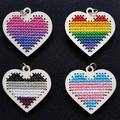 Wooden Cross Stitch Pride Pendant