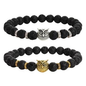 Fashion 8mm Natural Lava Volcanic Stone Bracelet with Silver Owl Head for Men
