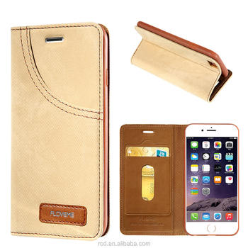 New Arrvial FLOVEME Jeans Skin Case Cover Luxury Jeans+Leather Flip Wallet Card Mobile Phone Case For IPhone 7 6 6s With Stand
