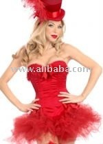 red burlesque corset & tutu