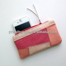 2017 aliabba wholesale new fashion pure handmade wool felt coin card phone keeper made in China