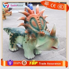 Garden soft silicone rubber battery operated cartoon dinosaur toys ride