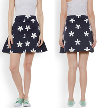 Hot Sale Blue Floral Printed Mini A-Line Short Skirt for Women