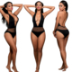 free shipping summer black beachwear V-nack piece swimsuit women bathing suit