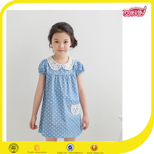Fashion design girls polka dots dress with neck lace designs