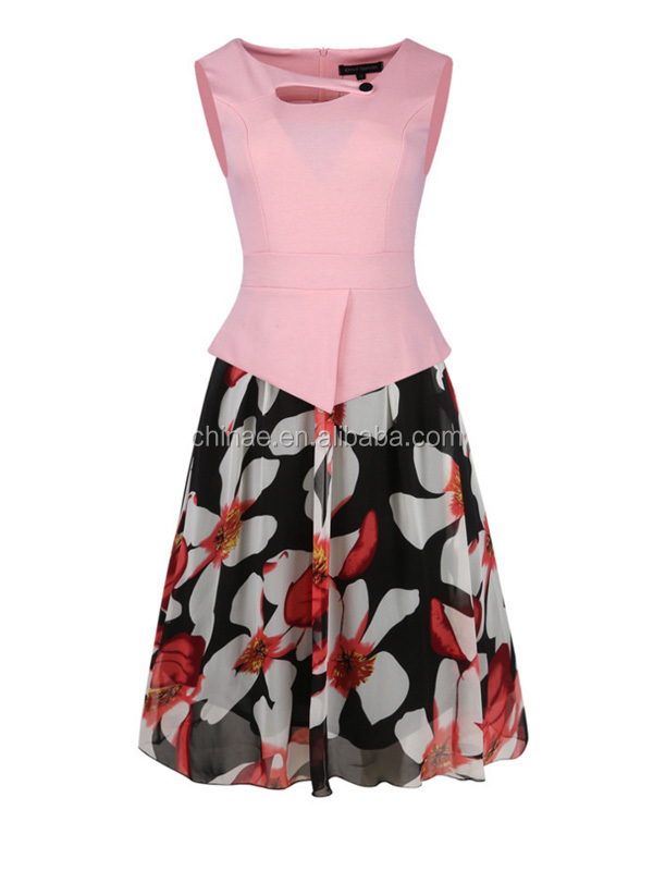 wholesale Fahion Printing Casual Vintage Skater Dress for Women Ball Gown
