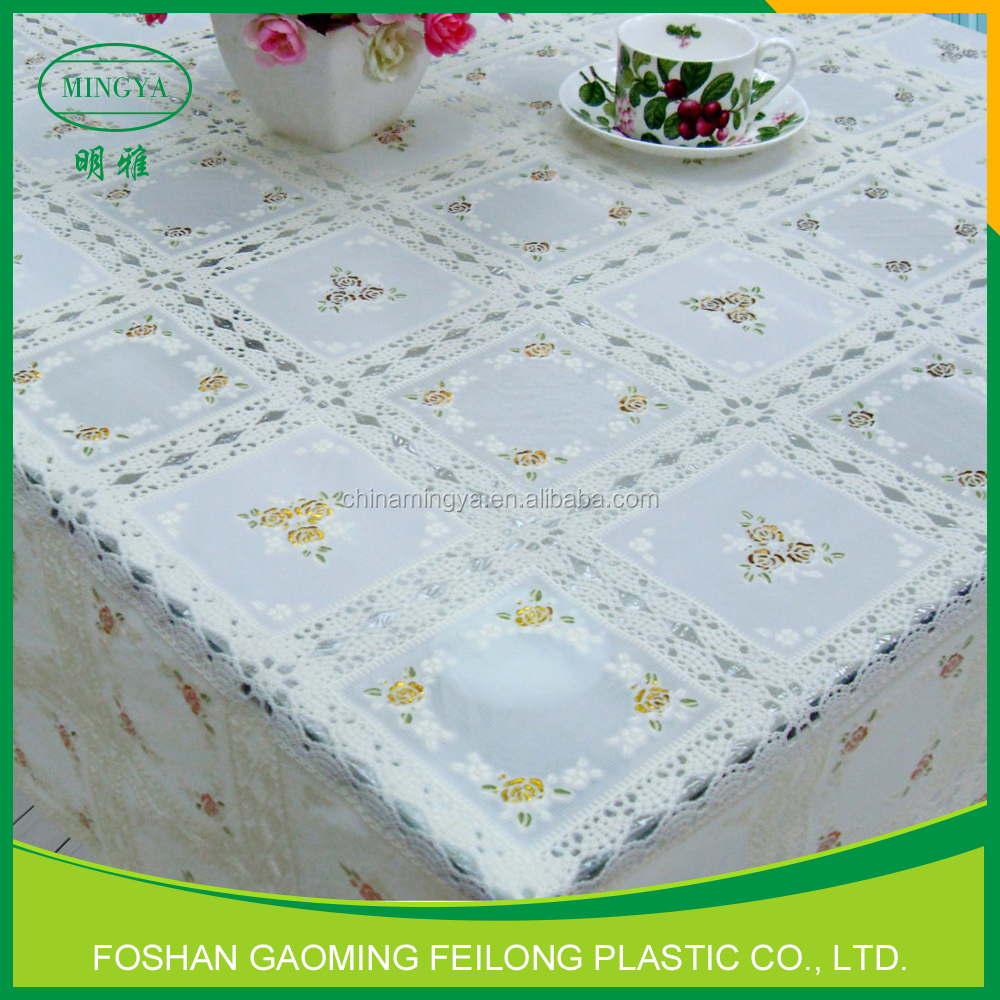 Wholesale Non Toxic Cheap Pvc Lace Tablecloth In Roll Sale