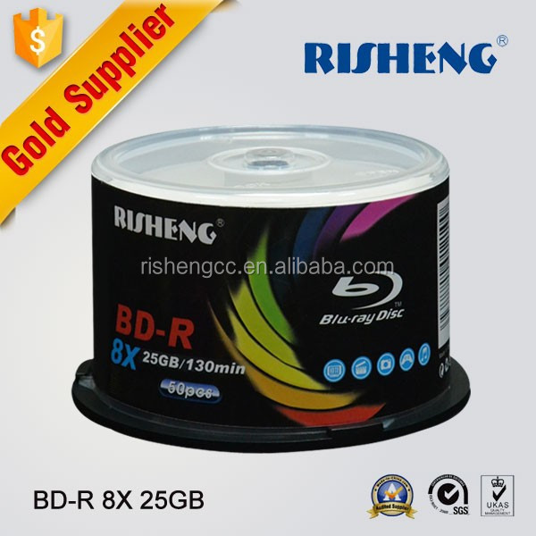 RISHENG 25gb blank blu ray media 50cake factory wholesale/blank blu-ray disks 6x printable