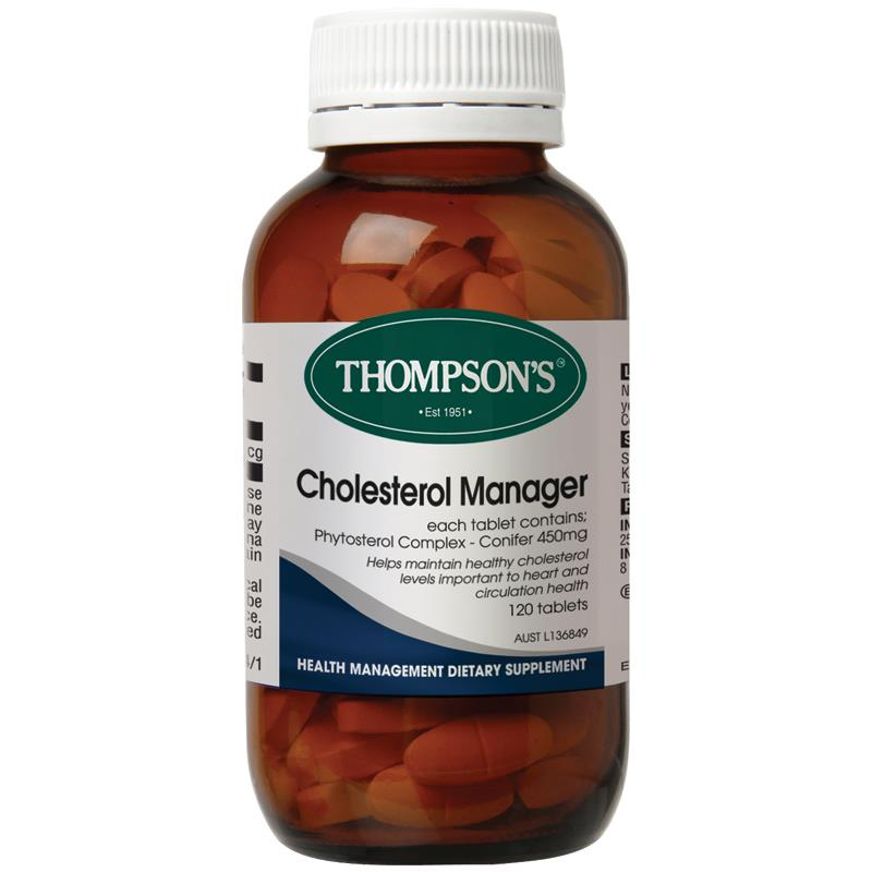Thompson's Cholesterol Manager 120 Tablets (Aid in lowering cholesterol) Vitamin A & D, healthy skin, eyes, joints