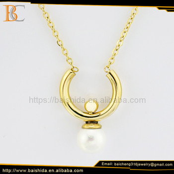 Very attraction gold plated stainless steel and pearl necklaces jewelry for women
