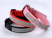 Full Rhinestone Bling PU Leather Diamante Pet Dog Cat Collars Diamond Buckle Neck Strap Collar pet product C2104
