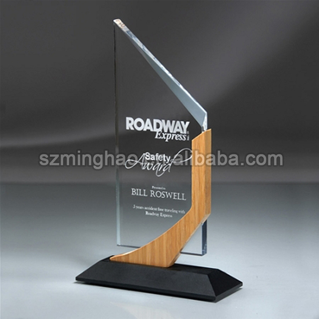 Acrylic engraved Sign clear perspex advertising LOGO Plaque wood frame trophy