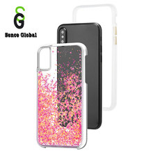 Custom glitter liquid tpu pc 5 inch cell phone case for iphone X flower phone cover