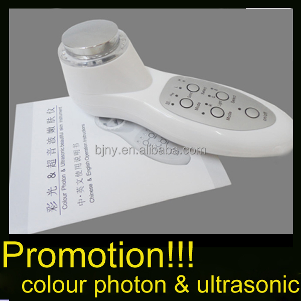 handheld 7 led light ultrasonic photon facial massager for home use on hot promotion