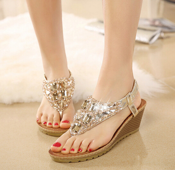 summer ladies fashion fancy flat sandals sandals shoes women 2017