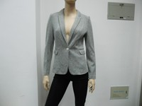 Women's solid one button suit jacket