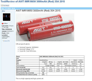 Aweite battery AWT 18650 battery IMR li-ion 3.7v 3000mAh 35A vapour batteries test by HKJ
