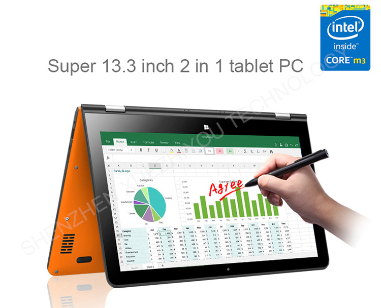 13.3 inch 4GB DDR 2 in 1 pc laptop 4G calling Intel chip tablet 4K output education and official business tablet pc