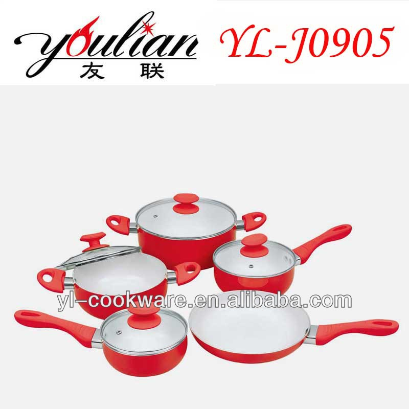 9PCS Aluminum purple ceramicCookware Set With Silicone Coating handle