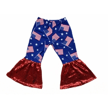 4th of july Baby Long Pants American Flag Cotton Red Sequin Wide Leg Hippie Bells Bottoms Pants Girls