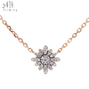 Beautiful and Romantic Sun Flower shape Valentines Day Jewelry Gift Pure 750 Rose Gold Diamond Necklace for Lovers