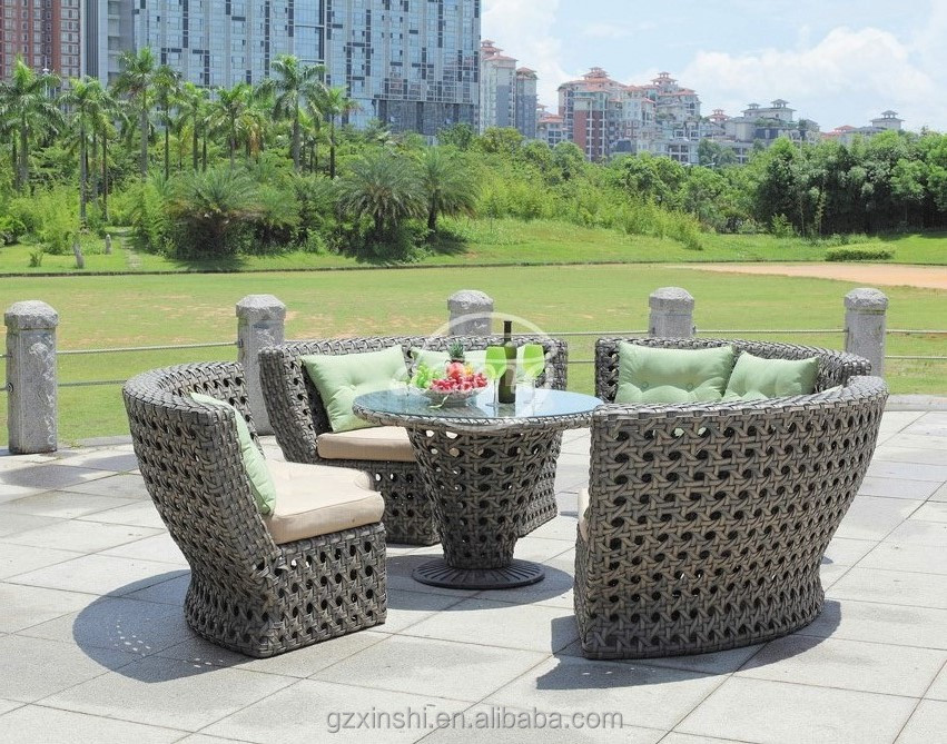 round bowl shape PE rattan woven outdoor sectional sofa furniture garden dining use