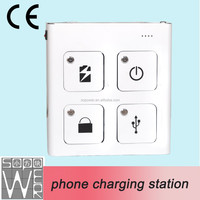 2015 new arrival 4 compartment phone charging locker with CE certificate tablet charging cart