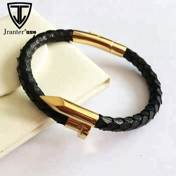Custom Real Python Leather Gold Rose Gold Nail Bracelet