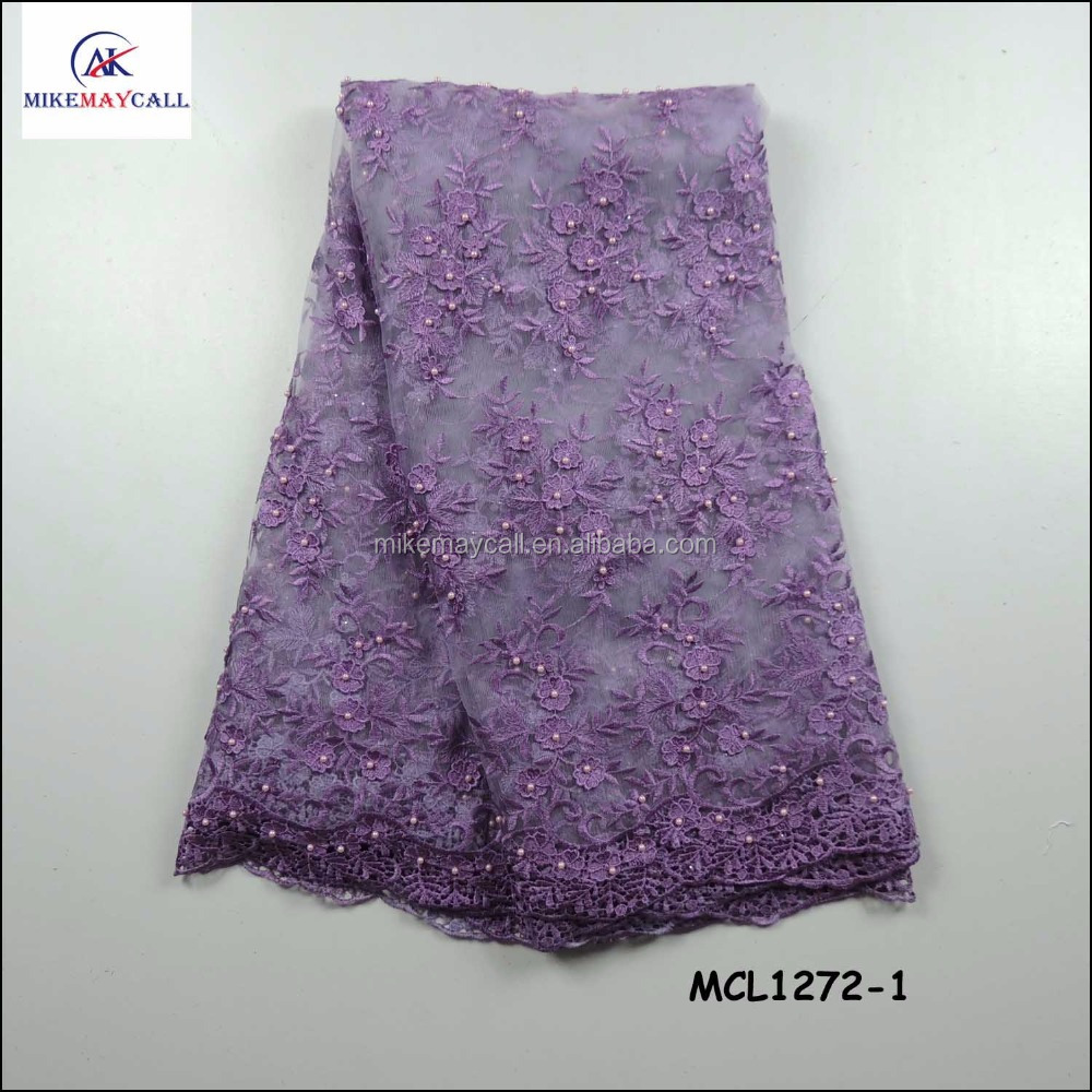 2016 latest metallic thread purple embroidery beaded lace <strong>fabric</strong> lovely mesh lace with pearls