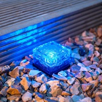 Waterproof Outdoor Solar Powered Decrative Lights Crystal Glass Frosted Ice Rock Led Solar Garden Light