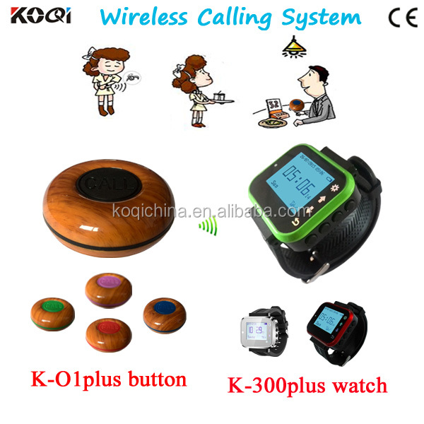 New!!!KOQI K-O1plus+K-300plus Waterproof Watch Pager Wireless Calling System/Restaurant Service Waiter Calling/Call Button Bell