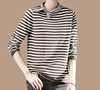 PK18ST075 butterfly bow wool woman sweater colour block stripe T-shirt sweater