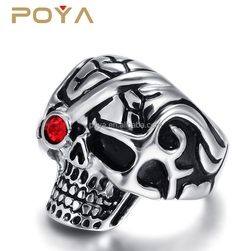 POYA Jewelry Fashion Men's Stainless Steel Red Eyes Skull Rings