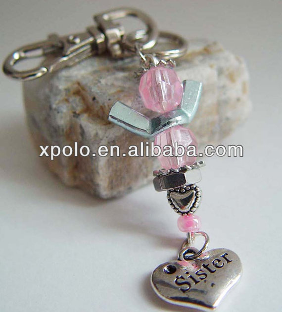 "Wholesale heart charm keychain/pink Acrylic beads charm keychain with imitation rhodium plated/Engraving words""Sister"" keychain"