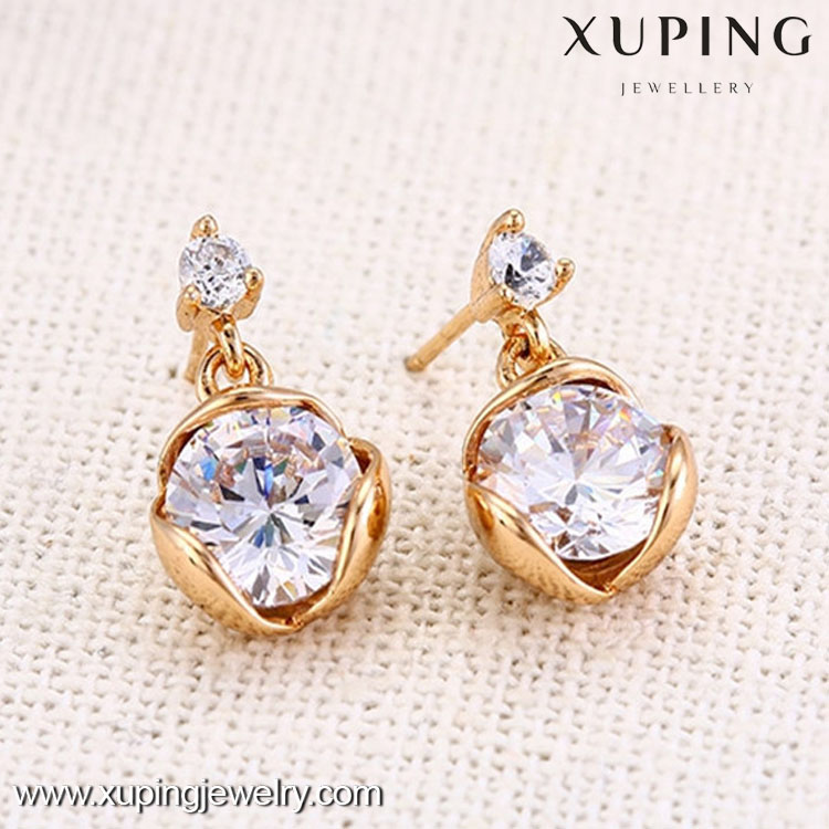 27143 Cheap wholesale fashion 18k gold big diamond gemstone earring