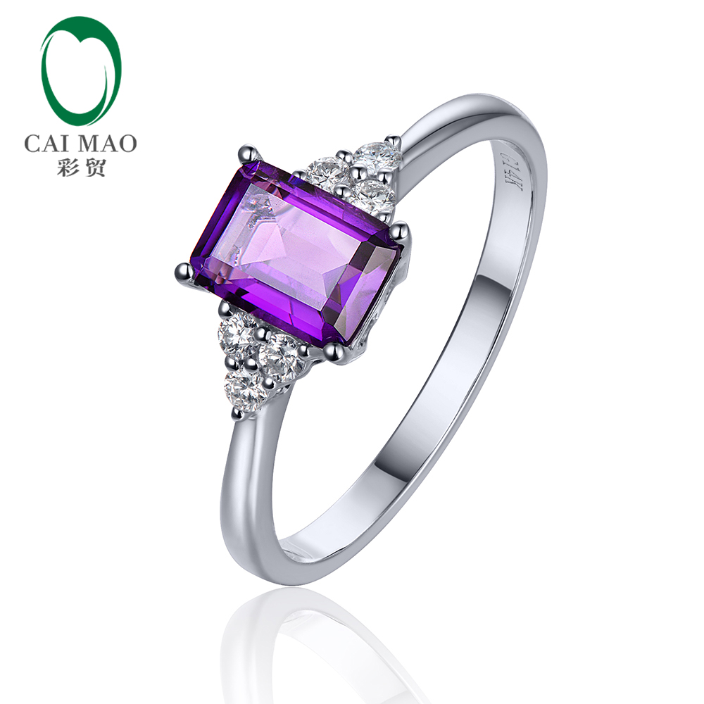 1.43ct IF Emerald Cut Amethyst 0.21ct SI1 Diamond 14K White Gold Engagement Ring