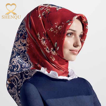 2017 Spring fashion floral printed silk scarves satin tudung gilding design digital printed silk hijab scarf