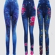 Autumn comb cotton fake jeans wholesale leggings