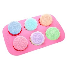 6 Cavity Round Mooncake Chocolate Cookies Soap Mold Round Mooncake Silicone Mold