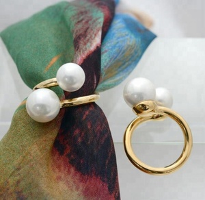 Beautiful Gold Plating Pearl Scarf Ring In 925 Silver Or Brass