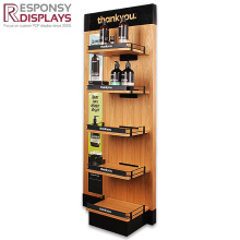 Custom Floor Wood Hand Cream Shampoo Cosmetic Display Shelves