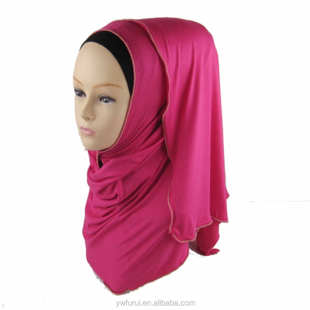 Wholesale Muslim Hijab Zipper Cotton Jersey Beautiful Shawl Wrap With Chain