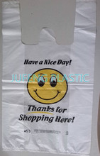 Factory disposable printed plastic thank you smile face t-shirt bag