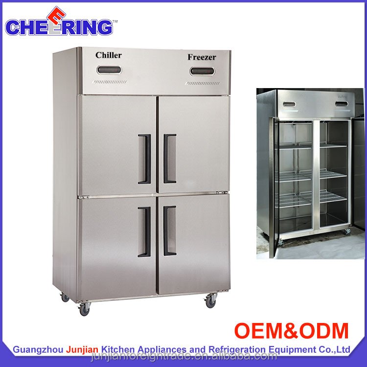 Used side by side stainless steel supermarket gas refrigerator and freezer