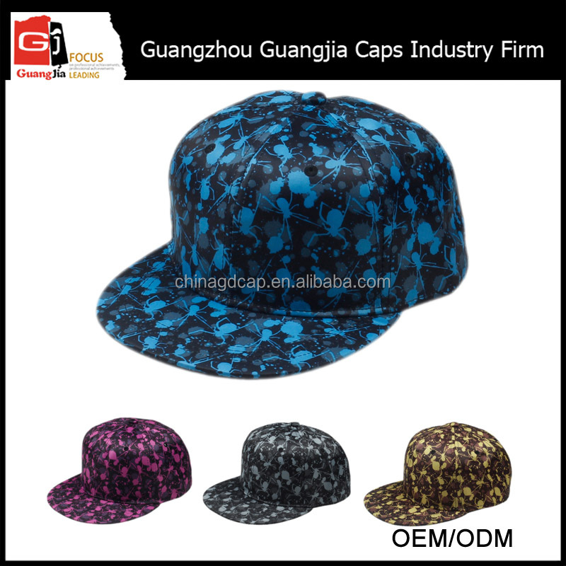 Guangjia Cap Factory Wholesale Custom Printed Brim Polyester Snapback With Your Own Logo