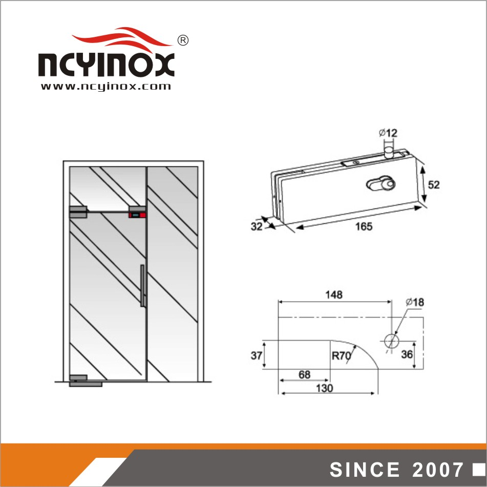 High quality Body Stainless Cover stainless steel glass door top patch fitting