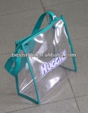 High quality crystal clear pvc zipper tote bag with blue/black