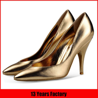 fashionable luxurious factory competitive price new design hot sale sexy top quality pointed toe high heel woman gold shoes